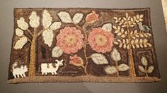 12in x 24in. Primitive Hand-Hooked Small Rug by Peggy Teich with Flowers, Cow, Pig and Bird #NaivePrimitive #PeggyTeich