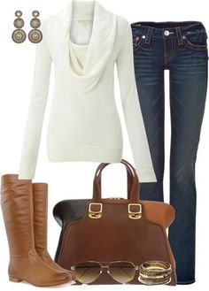Casual Outfit - looks like my boots and purse! Just need to find the sweater! I like this casual look very much. The color palette is one I wear often, too. Mode Outfits, Casual Outfits, Fashion Outfits, Womens Fashion, Fasion, Ladies Outfits, Ladies Dresses, Casual Jeans, Style Casual