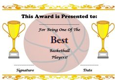 free basketball certificate template Perfect Attendance Certificate, Birth Certificate, Certificate Templates, Free Basketball, Basketball Goals, Basketball Players, Sports Awards, Sports Clubs, Best Templates