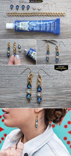 Swarovski gem and chain earrings -- 16 Chic DIY Projects -- http://ispydiy.com/my-diy-gem-earrings/