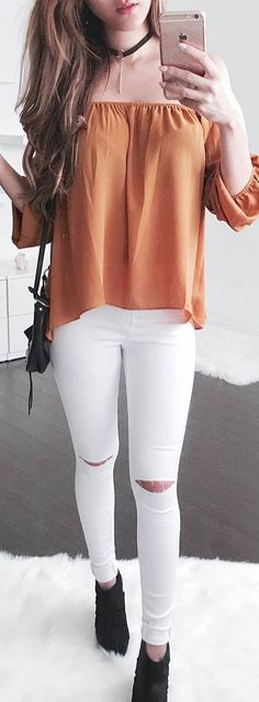 summer fashion trends off shoulder top + rips