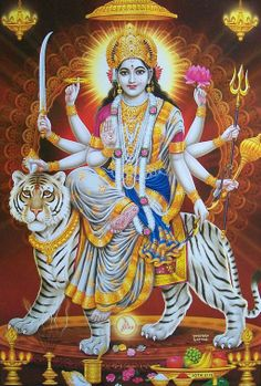 All Goddesses in Hindu belief are ultimately the same Goddess, often called simply 'Devi'. One of the fiercest of Devi's forms is Durga. She symbolizes the fierce power combat against evil. Maa Durga Photo, Durga Maa, Shiva Shakti, Jai Hanuman, Shiva Art, Kali Goddess, Indian Goddess, Indiana, Navratri Images