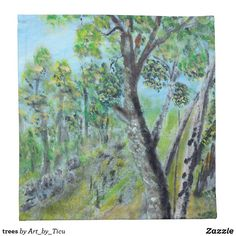trees napkin #Napkin #decoupage #idea #supply #furniture #art #acrylic #original #craft #diy #table #hotel #decoration #décor #cafe #restaurant #artcafe #artrestaurant #arthotel #landscape #nature #dining #diner #lunch #zazzle