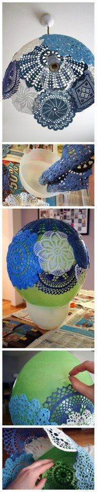 Doilies into lampshade
