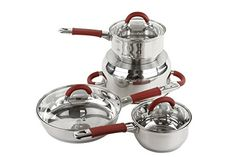 Great Professional 7 Pcs Stainless Steel Cookware Set - Pots and Frying Pan with Red Handles