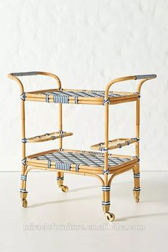 Woven Bistro Indoor/Outdoor Bar Cart by Anthropologie in Blue Size: All, Outdoor Diy Bar Cart, Gold Bar Cart, Bar Cart Decor, Bar Cart Styling, Indoor Outdoor, Outdoor Living, Outdoor Ideas, Porch Bar, Outdoor Bar Cart