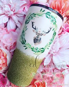 Light pink stag 30oz tumbler travel tumbler custom tumbler
