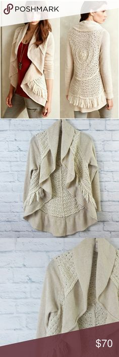 """Anthropologie Fringe Circle Cardigan Small Cream Anthropologie Fringe Circle Cardigan Small Cream. Excellent Pre Worn. No Trades   Fabric is cotton blend  Measurements are below, taken straight across with the garment laying flat   Bust - 17"""" Length - 23/29"""" 0093428173 Anthropologie Sweaters Cardigans"""