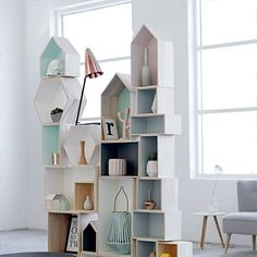Pastel stacked shelving