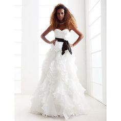 A-line Princess Sweetheart Strapless Floor-length Organza Wedding Dress  – #00176145LIB