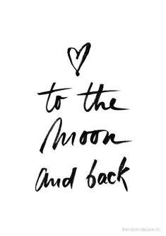 """missredfox - Print """"To the Moon and Back"""" - bnw, black & white, graphic, art, typo, drawing, decoration, heart, love, brushpen, Pentel // Poster Druck """"To the Moon and Back"""" - schwarz weiß, grafisch, Kunst, Zeichnung, Deko, Geschenk, Typographie, Typo, Pinselstift, Herz, Liebe"""
