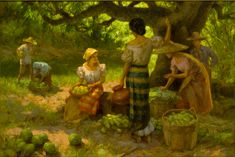 Fruit Pickers Harvesting Under The Mango Tree (1939) - Oil on Canvas by Fernando Amorsolo