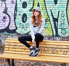 Stella Mc Cartney Hat, J Brand High Waisted Stretch Denim Jeans, Nike Top, Nike Sneakerboots