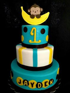 Mod Monkey 1st Birthday Cake I made for a little baby boy named Jayden