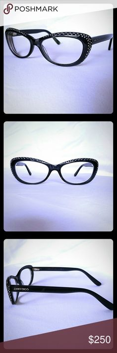 "Gorgeous Jimmy Choo Glasses Black slight cat eye shaped frames with rhinestones surrounding the outer edge of the frames. These are barely worn & like new condition. No missing rhinestones. I love them but just don't wear them anymore. These really are amazingly beautiful in person. I can post pics of me wearing them on request. Actually in my ""about me"" post there is a pic of me with them on too. Price firm unless bundled, as I am not totally sure I want to part with them. Comes with…"
