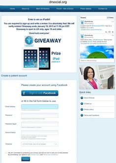 #GiveAway  #Win an #iPad simply for reviewing your physician  at http://drsocial.org/pages/landing3  the #iPad is wifi,64GB, HD, current version in stores.