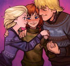 Elsa, Anna, and Kristoff