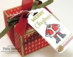 DIY Christmas gift box created with Stampin' Up! paper and Kraft Gift Box. Rubber Stamps and Scalloped Tag Topper Punch creates super easy tags! by Patty Bennett