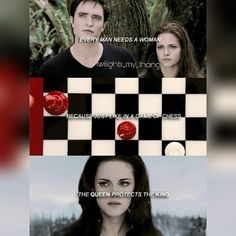 Why there is the chess board in the book-Breaking Dawn. She is not powerful in the beginning, surrounded by her king. But then in the end, she becomes the most powerful, protecting the king❤️ Twilight Jokes, Twilight Saga Quotes, Twilight Saga Series, Twilight New Moon, Twilight Pictures, Twilight Series, Twilight Movie, Twilight Bella And Edward, Edward Bella