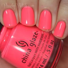 "China Glaze: Spring 2014 City Flourish Collection Swatches & Review - Peachy Polish ""Thistle Do Nicely"" is a gorgeously bright, eye-searing neon pink with more red tones than blue and dries with a satin finish."