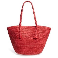 Women's Phase 3 Woven Straw Tote ($41) ❤ liked on Polyvore featuring bags, handbags, tote bags, purses, red grenadine, lightweight tote, woven tote, tote handbags, man bag and lightweight tote bag