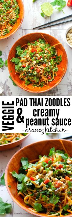 Veggie Pad Thai Zoodles & Peanut Sauce Add chicken and fried eggs Swap out chili flakes and sugar for 3 tbsp sweet chili sauce Heat sauce before adding to zoodles Fodmap Recipes, Asian Recipes, Vegetarian Recipes, Cooking Recipes, Healthy Recipes, Vegetarian Protein, Protein Recipes, Thai Recipes, Zoodle Recipes