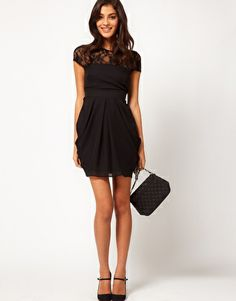 36632b50bddce Asos Tulip Dress with Lace Top - Lyst