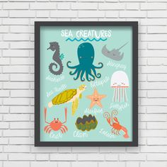 Sea Creatures Art Print by Lucy Darling