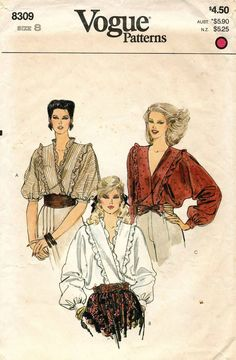 The pattern is complete, uncut. 1980s Fashion Trends, Seventies Fashion, Retro Fashion, Vintage Fashion, Vintage 1950s Dresses, Blouse Vintage, Vintage Shirts, Vintage Outfits, Paris Outfits