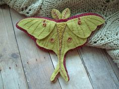 Embroidered Luna Moth Brooch by SandhraLee on Etsy, $16.00
