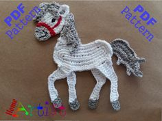 Horse  This is an -INSTANT DOWNLOAD- pattern of a cute Horse. Skill level: easy.  The pattern is in .pdf format, with step by step instructions and detailed photos of each individual process. Please note that Adobe Reader is required to open this pattern. (free at http://www.adobe.com) The pattern provides instructions to make a cute crochet applique that can be used in inumerable ways...decorate and personalize your favorite objects like hats, t-shirts, bags, school knap-sacks and lots of…