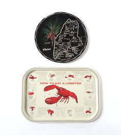 Red How to Eat a Lobster Metal & Maine State Tray Beach Cottage Decor Shabby Chic Vintage Kitchen Summer House Design Chippy Paint
