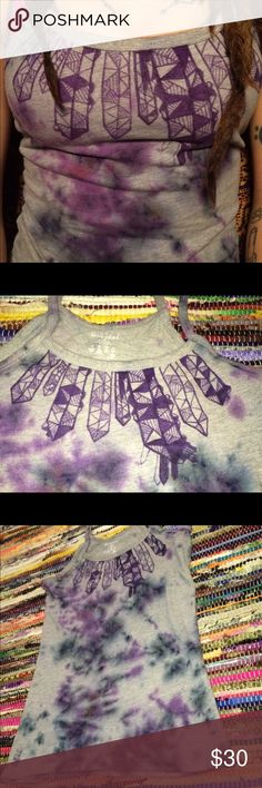 Handmade Crystals Tank Top Tie Dye / Hippie boho I took a regular gray tank and transformed it into this beautiful crystals shirt! Hand dyed and the crystals were hand drawn with fabric pen. This is absolutely one of my favorites 😍😍😍 size: small digital gypsi Tops Tank Tops