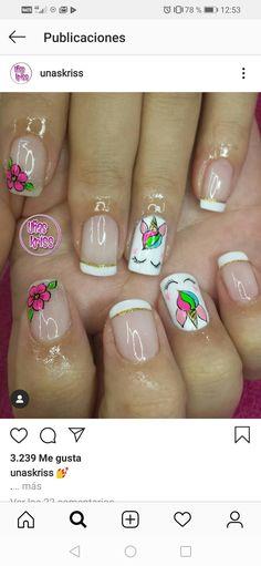 Pretty Nail Art, Nail Designs, Beauty, Polish Nails, Nail Art Designs, Flamingo Nails, Ongles, Nail Desings, Beauty Illustration