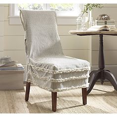 stripe ruffle chair cover from through the country door - Kitchen Chair Covers