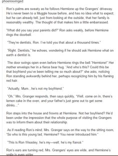 ron and hermione -*clears throat* actually ron /has/ been to a muggle's house before; harry's