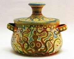 Ancient Greek hand painted Vase - Pottery Pyxis Minoan Period 1700 B. Ancient Greek Art, Ancient Greece, Minoan Art, Greek Pattern, Mycenae, Creta, Ocean Art, Ancient Artifacts, Ancient Civilizations
