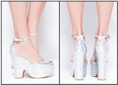 Gorgeous holographic platform sandals