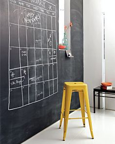 "Transform a drab wall into a fab (and practical) entryway. Apply a coat of magnetic chalkboard paint to the wall and draw a supersized calendar. Bonus: It can double as a fun ""to-dos"" board or a great menu space for dinner parties. -"