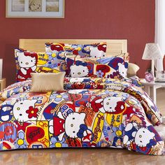"""Hello Kitty Queel Full Size Bedding Set - """"cool"""" or """"next""""? Hello Kitty Room Decor, Hello Kitty Bedroom, Hello Kitty Themes, Cat Bedroom, Bedroom Decor, Bedroom Ideas, Kids Bedroom, Full Size Bed Sets, Simple Sofa"""