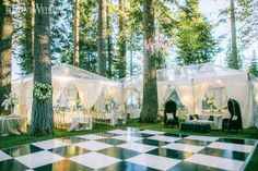 Black and White Checkerboard Dance Floor, Forest Wedding With Greenery