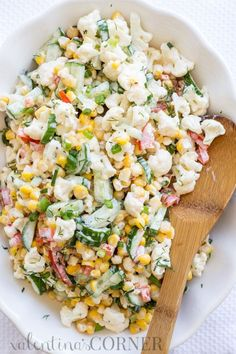 Cauliflower Corn and Cucumber Salad. ValentinasCorner #Salad #Corn #Cucumber #Healthy