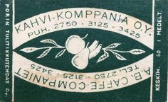 vanha tulitikkuaskin etiketti. teksti: kahvi-komppanianoy. ab caffe-companiet .