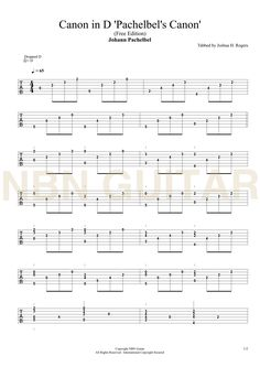 canon in d by pachelbel easy guitar tablature 1 music guitar sheet music guitar tabs. Black Bedroom Furniture Sets. Home Design Ideas
