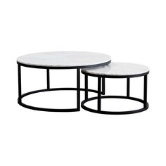 These round nesting marble coffee tables come with a black steel metal base and are a modern and contemporary solution for any living room.