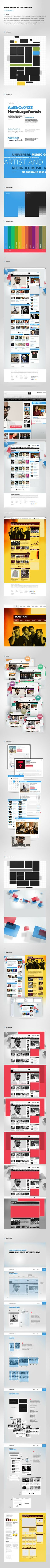 Interaction Design / Universal Music Group Germany by Rene Bieder, via Behance *** Relaunch of the Universal Music Group Germany Website - styleguide presentation? Mobile Web Design, Web Ui Design, Branding Design, Ui Kit, Intranet Design, Design Responsive, Digital Web, Ui Design Inspiration, Web Layout