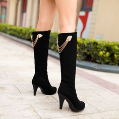 May 2018 - Rhinestone Black Knee High Boots Platform High Heels Shoes Woman 3273 3273 Platform High Heels, High Heel Boots, Shoe Boots, Black Platform, Black Pumps Heels, Shoes Heels, Over The Knee Boot Outfit, Baskets, Fashionable Snow Boots
