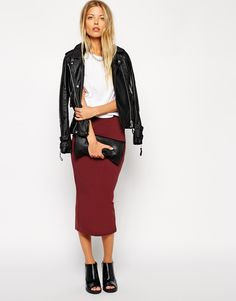 Image 1 of ASOS Midi Pencil Skirt in Jersey