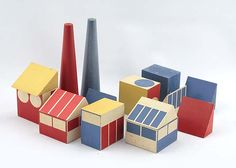 """""""Factory Town"""" toy prototype, c 1942 by Ladislav Sutnar by daddytypes, via Flickr"""