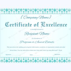 The 16 best Certificate of Excellence templates images on Pinterest ...